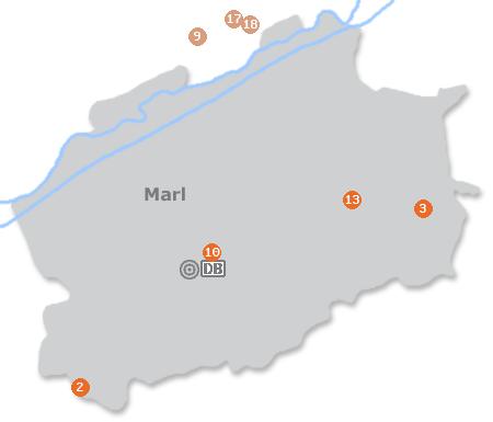 Karte mit Pensionen und anderen Unterkünften in Marl