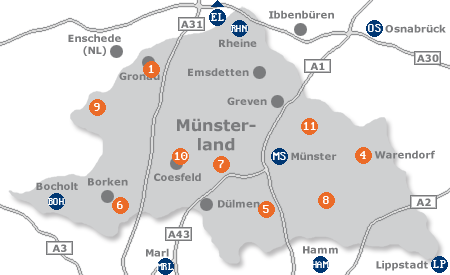 Karte mit Pensionen und anderen Unterk�nften im M�nsterland