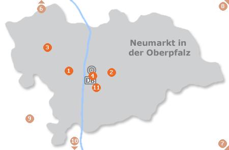 Karte mit Pensionen und anderen Unterkünften in Neumarkt in der Oberpfalz