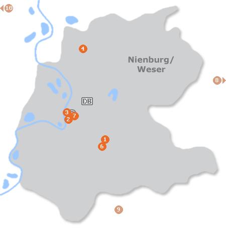 Karte mit Pensionen und anderen Unterkünften in Nienburg / Weser