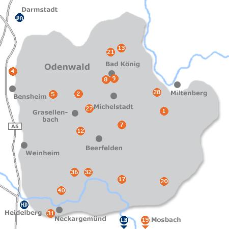 Karte mit Pensionen und anderen Unterk�nften im Odenwald