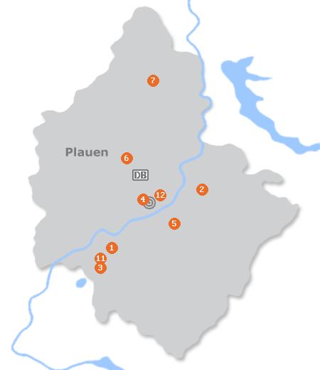 Karte mit Pensionen und anderen Unterkünften in Plauen