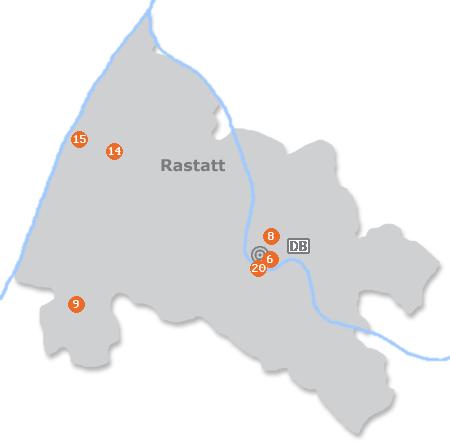 Karte mit Pensionen und anderen Unterk�nften in Rastatt