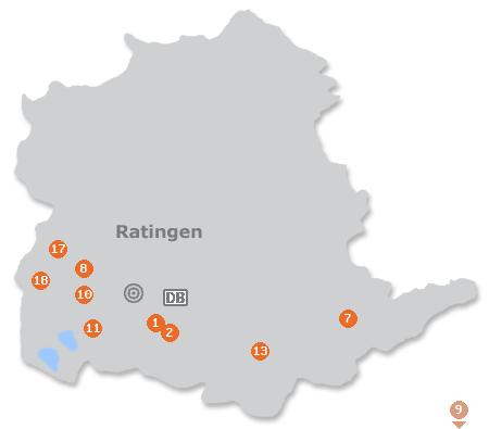 Karte mit Pensionen und anderen Unterkünften in Ratingen