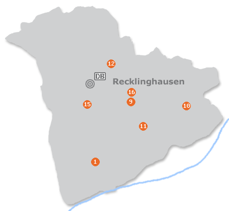 Karte mit Pensionen und anderen Unterk�nften in Recklinghausen