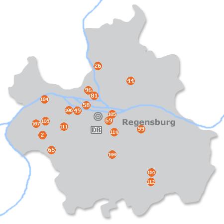 Karte mit Pensionen und anderen Unterkünften in Regensburg