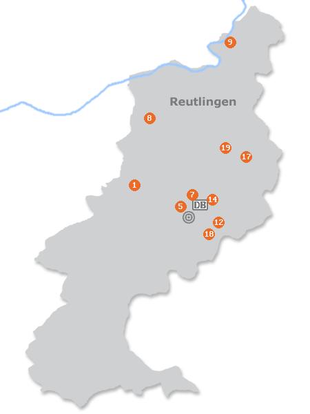 Karte mit Pensionen und anderen Unterkünften in Reutlingen