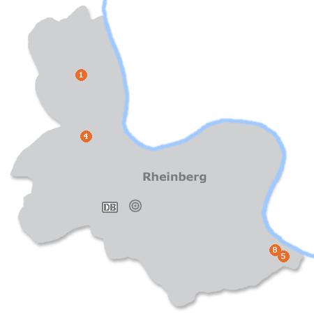 Karte mit Pensionen und anderen Unterk�nften in Rheinberg