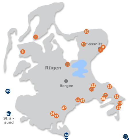Karte mit Pensionen und anderen Unterkünften auf Rügen