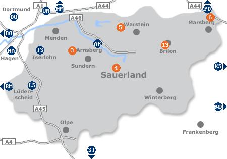 Karte mit Pensionen und anderen Unterk�nften im Sauerland