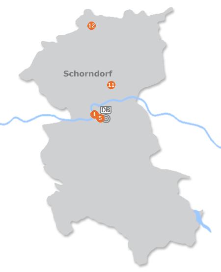 Karte mit Pensionen und anderen Unterk�nften in Schorndorf
