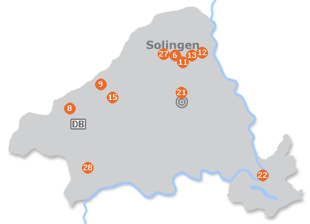 Karte mit Pensionen und anderen Unterk�nften in Solingen