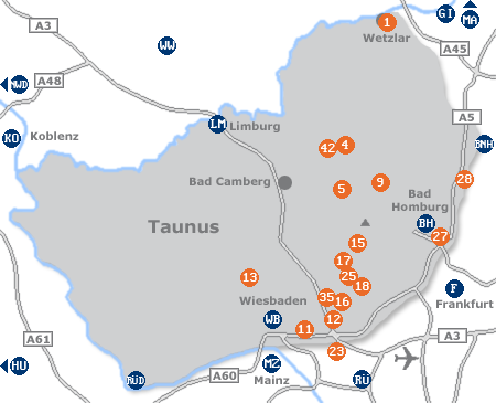 Karte mit Pensionen und anderen Unterkünften im Taunus