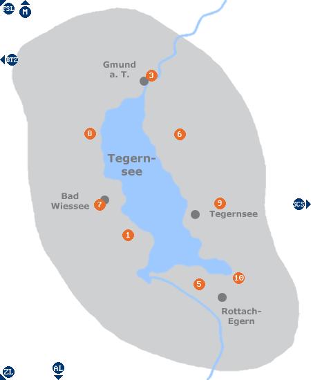 Karte mit Pensionen und anderen Unterkünften im Gebiet Tegernsee