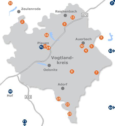 Karte mit Pensionen und anderen Unterkünften im Vogtland