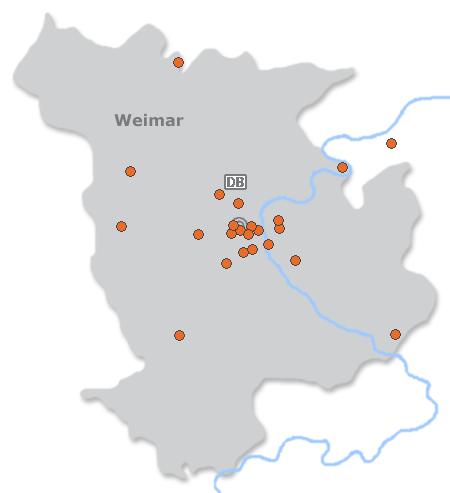 Karte mit Pensionen und anderen Unterk�nften in Weimar