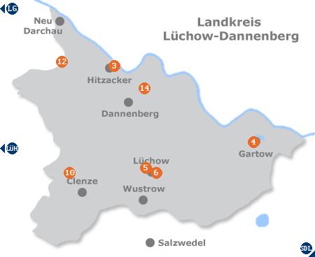 Karte mit Pensionen und anderen Unterk�nften im Wendland