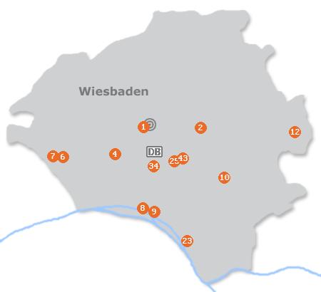 Karte mit Pensionen und anderen Unterkünften in Wiesbaden