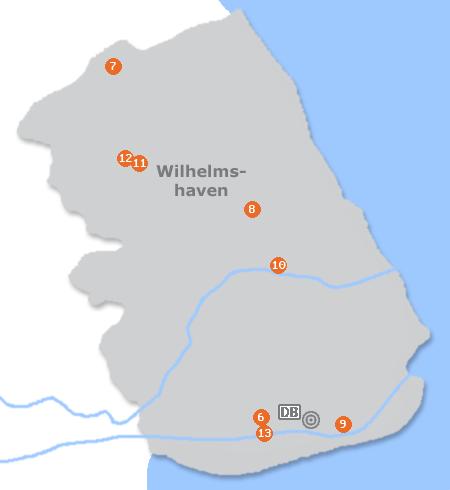 Karte mit Pensionen und anderen Unterkünften in Wilhelmshaven