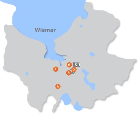 Karte mit Pensionen und anderen Unterkünften in Wismar