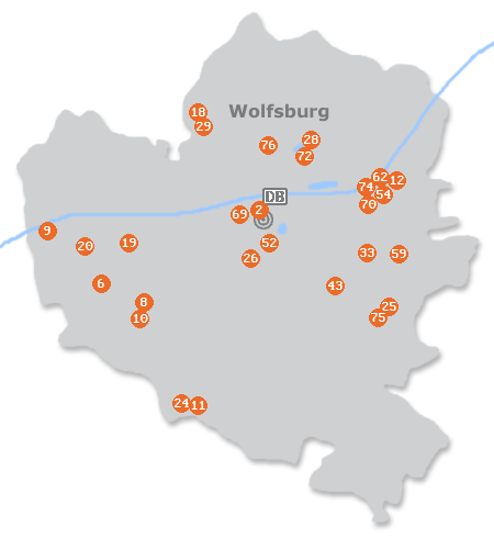 Karte mit Pensionen und anderen Unterkünften in Wolfsburg