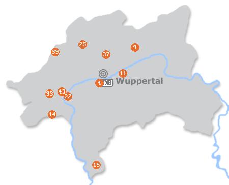 Karte mit Pensionen und anderen Unterkünften in Wuppertal