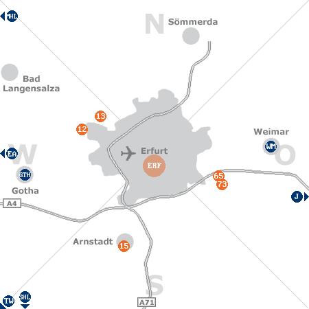 Karte mit Pensionen und anderen Unterkünften rund um Erfurt