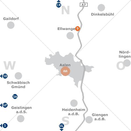 Karte mit Pensionen und anderen Unterk�nften rund um Aalen