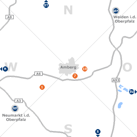 Karte mit Pensionen und anderen Unterk�nften rund um Amberg