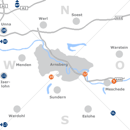 Karte mit Pensionen und anderen Unterkünften rund um Arnsberg