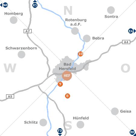 Karte mit Pensionen und anderen Unterk�nften rund um Bad Hersfeld