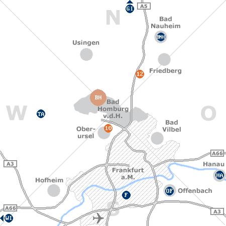 Karte mit Pensionen und anderen Unterk�nften rund um Bad Homburg