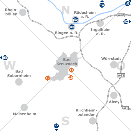 Karte mit Pensionen und anderen Unterkünften rund um Bad Kreuznach