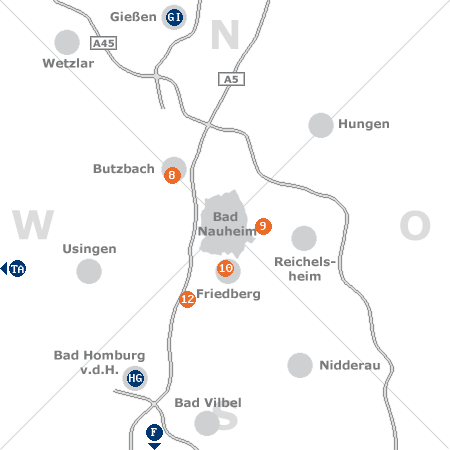 Karte mit Pensionen und anderen Unterk�nften rund um Bad Nauheim