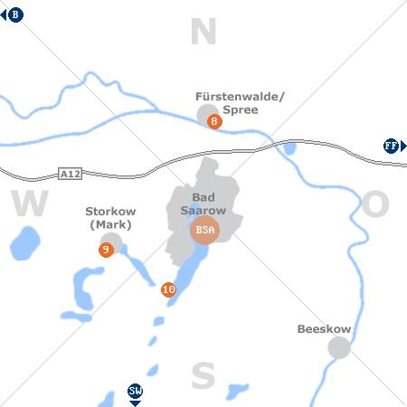 Karte mit Pensionen und anderen Unterkünften rund um Bad Saarow