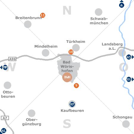 Karte mit Pensionen und anderen Unterkünften rund um Bad Wörishofen