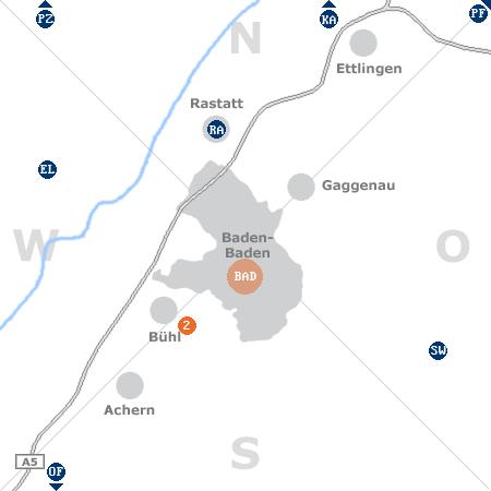 Karte mit Pensionen und anderen Unterkünften rund um Baden-Baden