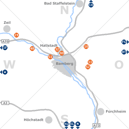 Karte mit Pensionen und anderen Unterk�nften rund um Bamberg