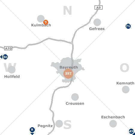 Karte mit Pensionen und anderen Unterkünften rund um Bayreuth