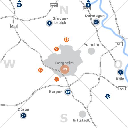 Karte mit Pensionen und anderen Unterk�nften rund um Bergheim