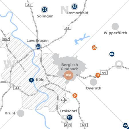Karte mit Pensionen und anderen Unterk�nften rund um Bergisch Gladbach