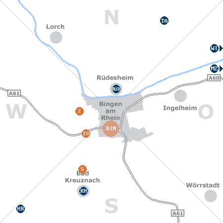 Karte mit Pensionen und anderen Unterk�nften rund um Bingen am Rhein