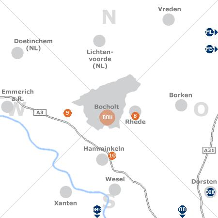Karte mit Pensionen und anderen Unterkünften rund um Bocholt