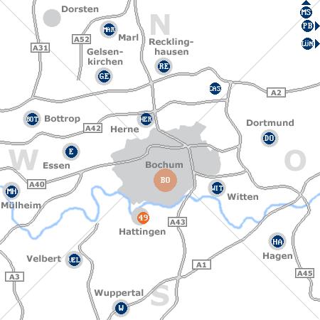 Karte mit Pensionen und anderen Unterk�nften rund um Bochum