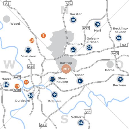 Karte mit Pensionen und anderen Unterkünften rund um Bottrop
