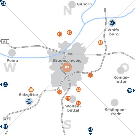 Karte mit Pensionen und anderen Unterkünften rund um Braunschweig