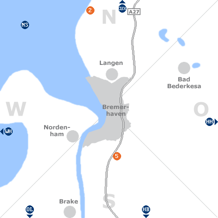 Karte mit Pensionen und anderen Unterk�nften rund um Bremerhaven