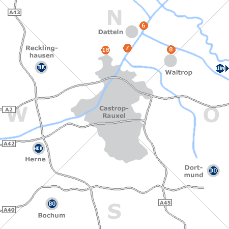 Karte mit Pensionen und anderen Unterk�nften rund um Castrop-Rauxel
