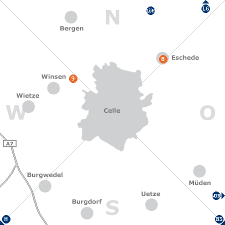 Karte mit Pensionen und anderen Unterkünften rund um Celle