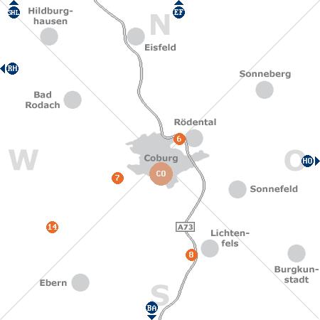 Karte mit Pensionen und anderen Unterkünften rund um Coburg